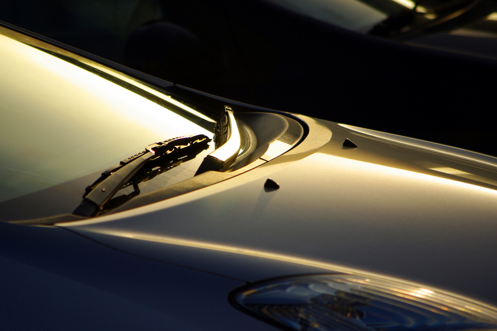 Detail of a car windshield wipers lit by low sunlight