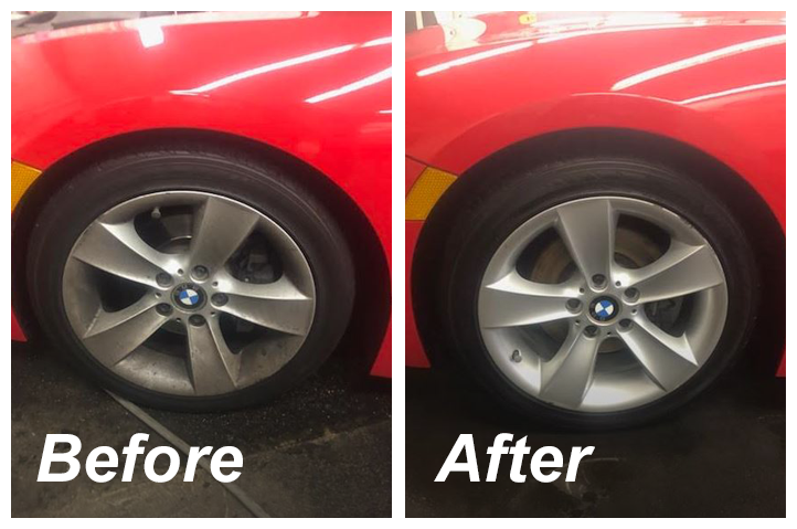 before and after cleaning a BMW's wheels