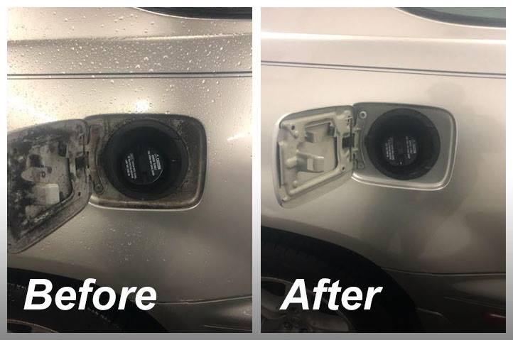 before and after cleaning a gas cap