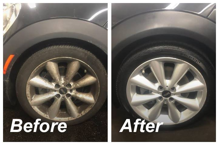 before and after detailing wheels