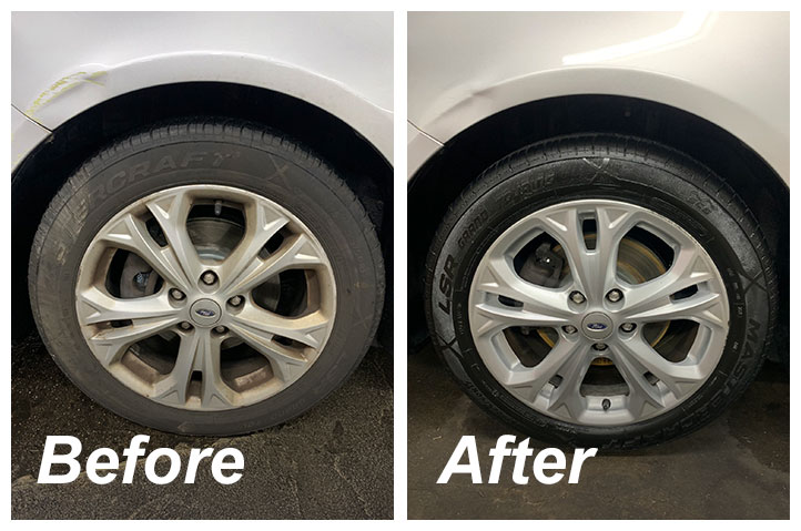 Before & after tire detail